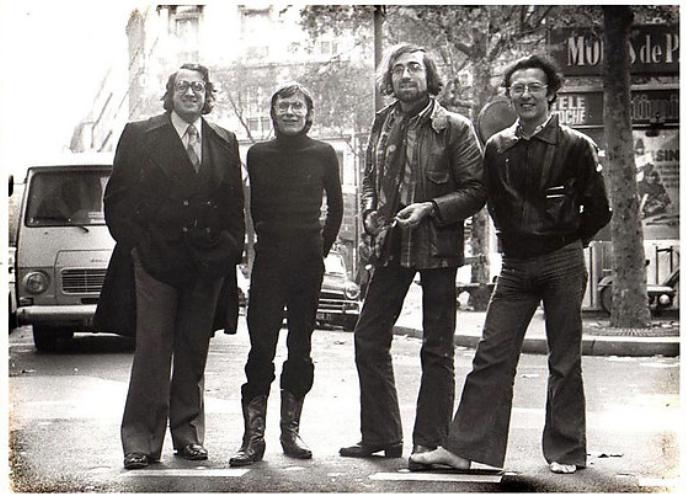 Les Humanoïdes Associés' CFO Bernard Farkas with Jean-Pierre Dionnet, Philippe Druillet and Mœbius in Paris in 1975.
